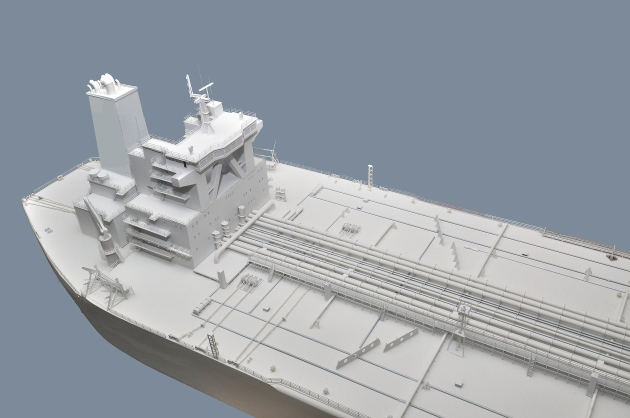 Details from the stern. The model is matte white, so that 3D color and motion can be projected on it.