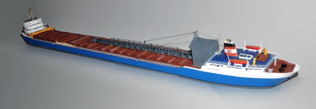 "Stern view of Algosteel, an N scale model spanning 55""."